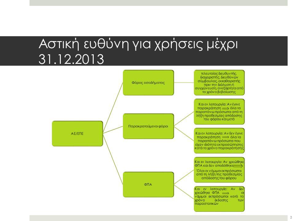 Αστική ευθύνη για χρήσεις μέχρι 31.12.2013 ΑΕ/ΕΠΕΦόρος εισοδήματος τελευταίος διευθυντής, διαχειριστής, διευθύνων σύμβουλος, εκκαθαριστής πριν την διάλυση ή συγχώνευση, ανεξάρτητα από το χρόνο βεβαίωσης Παρακρατούμενοι φόροι Και εν λειτουργία: Αν έγινε παρακράτηση όλα τα παραπάνω πρόσωπα από τη λήξη προθεσμίας απόδοσης του φόρου και μετά Και εν λειτουργία: Αν δεν έγινε παρακράτηση όλα τα παραπάνω πρόσωπα που είχαν ιδιότητα εκπροσώπησης κατά το χρόνο παρακράτησης ΦΠΑ Και εν λειτουργία: Αν χρεώθηκε ΦΠΑ και δεν αποδόθηκε Όλοι οι νόμιμοι εκπρόσωποι από τη λήξη της προθεσμίας απόδοσης του φόρου Και εν λειτουργία: Αν δεν χρεώθηκε ΦΠΑ οι νόμιμοι εκπρόσωποι κατά το χρόνο έκδοσης των παραστατικών 3