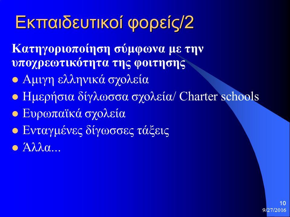 Εκπαιδευτικοί φορείς/2 Κατηγοριοποίηση σύμφωνα με την υποχρεωτικότητα της φοιτησης Αμιγη ελληνικά σχολεία Ημερήσια δίγλωσσα σχολεία/ Charter schools Ευρωπαϊκά σχολεία Ενταγμένες δίγωσσες τάξεις Άλλα...
