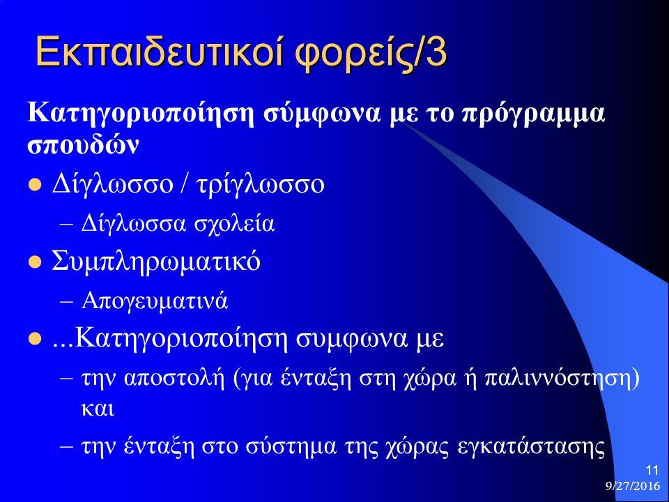 Εκπαιδευτικοί φορείς/3 Κατηγοριοποίηση σύμφωνα με το πρόγραμμα σπουδών Δίγλωσσο / τρίγλωσσο –Δίγλωσσα σχολεία Συμπληρωματικό –Απογευματινά...Κατηγοριοποίηση συμφωνα με –την αποστολή (για ένταξη στη χώρα ή παλιννόστηση) και –την ένταξη στο σύστημα της χώρας εγκατάστασης 9/27/2016 11