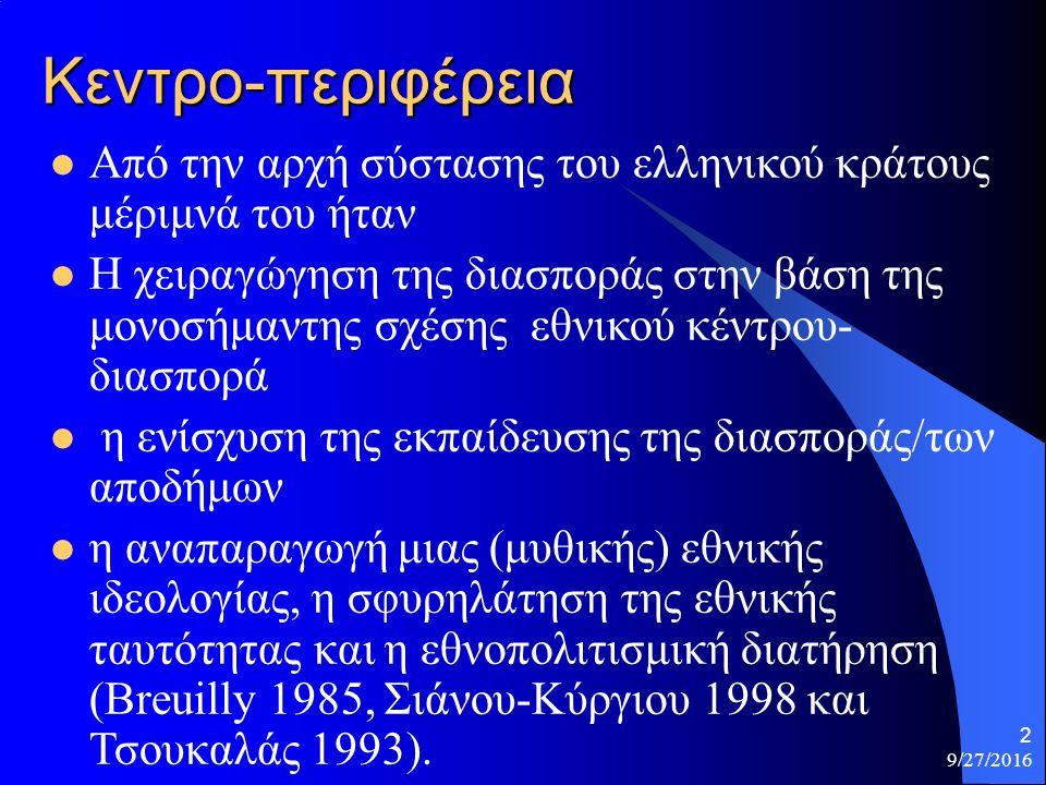 9/27/2016 13 Εκπαιδευτική πολιτική Η επίσημη εκπαιδευτική πολιτική του ελληνικού κράτους απέναντι στην ελληνόγλωσση εκπαίδευσης της διασποράς –Αναπτύχθηκε πολύ αργά και –με όχι με συντονισμένο τρόπο (Δαμανάκης 1999) (εμφανίστηκε μετά τον ΒΠΠ και στην Αυστραλία στα 1977 με το Γραφείο Εκπαίδευσης).