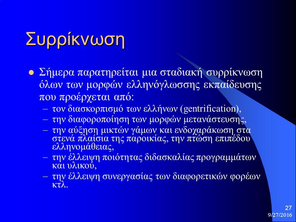 9/27/2016 27 Συρρίκνωση Σήμερα παρατηρείται μια σταδιακή συρρίκνωση όλων των μορφών ελληνόγλωσσης εκπαίδευσης που προέρχεται από: –τον διασκορπισμό των ελλήνων (gentrification), –την διαφοροποίηση των μορφών μετανάστευσης, –την αύξηση μικτών γάμων και ενδοχαράκωση στα στενά πλαίσια της παροικίας, την πτώση επιπέδου ελληνομάθειας, –την έλλειψη ποιότητας διδασκαλίας προγραμμάτων και υλικού, –την έλλειψη συνεργασίας των διαφορετικών φορέων κτλ.