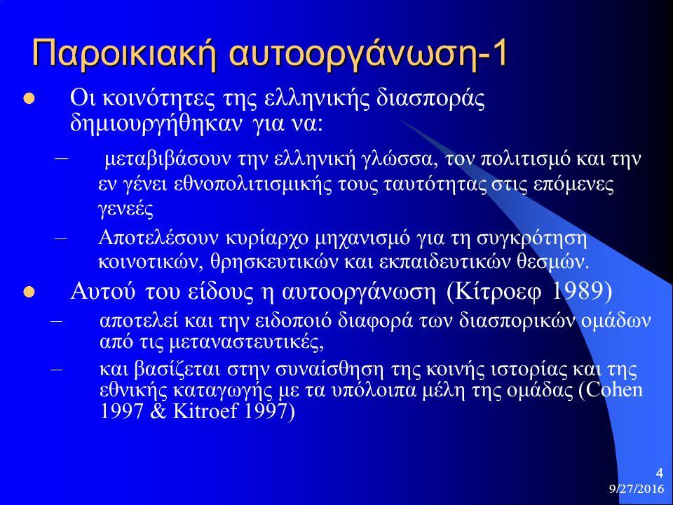 4 Παροικιακή αυτοοργάνωση-1 Οι κοινότητες της ελληνικής διασποράς δημιουργήθηκαν για να: – μεταβιβάσουν την ελληνική γλώσσα, τον πολιτισμό και την εν γένει εθνοπολιτισμικής τους ταυτότητας στις επόμενες γενεές –Αποτελέσουν κυρίαρχο μηχανισμό για τη συγκρότηση κοινοτικών, θρησκευτικών και εκπαιδευτικών θεσμών.