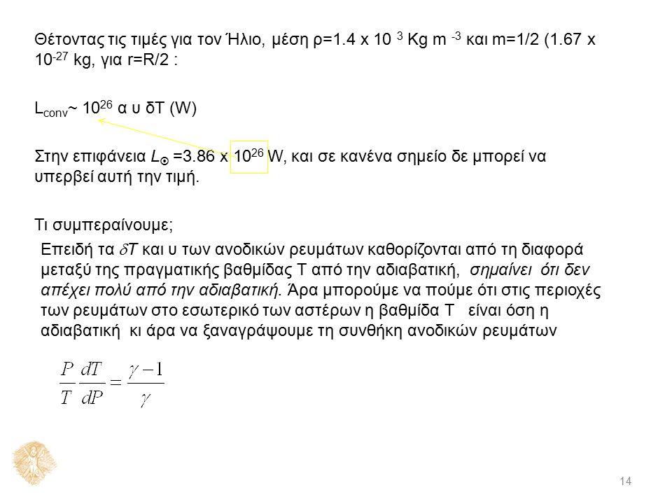 14 Θέτοντας τις τιμές για τον Ήλιο, μέση ρ=1.4 x 10 3 Kg m -3 και m=1/2 (1.67 x 10 -27 kg, για r=R/2 : L conv ~ 10 26 α υ δΤ (W) Στην επιφάνεια L  =3.86 x 10 26 W, και σε κανένα σημείο δε μπορεί να υπερβεί αυτή την τιμή.