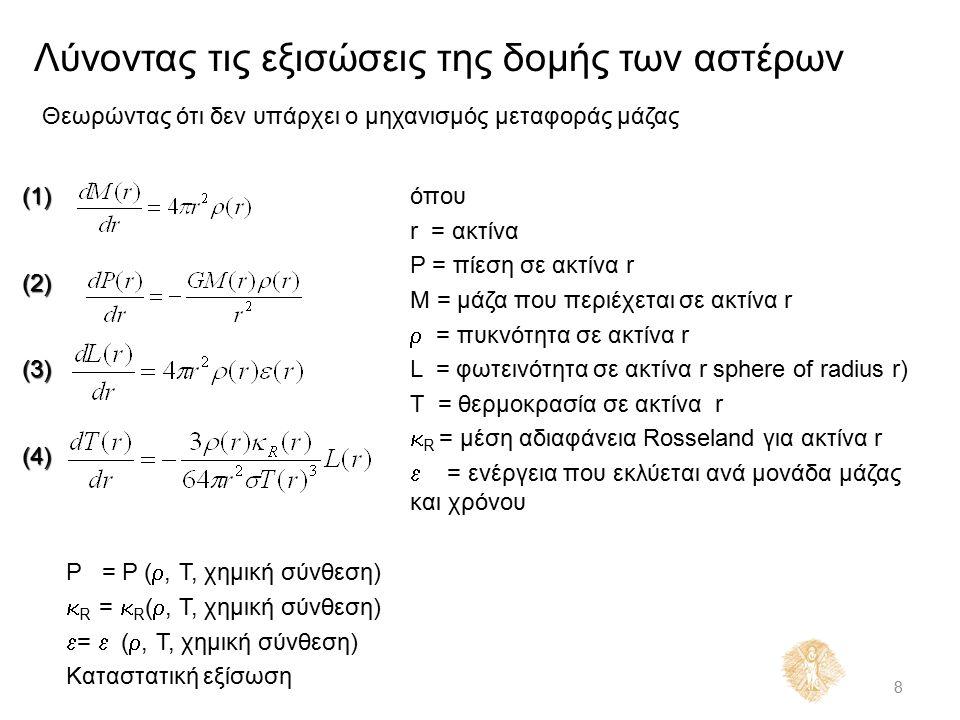 Λύνοντας τις εξισώσεις της δομής των αστέρων 8 Θεωρώντας ότι δεν υπάρχει ο μηχανισμός μεταφοράς μάζας όπου r = ακτίνα P = πίεση σε ακτίνα r M = μάζα που περιέχεται σε ακτίνα r  = πυκνότητα σε ακτίνα r L = φωτεινότητα σε ακτίνα r sphere of radius r) T = θερμοκρασία σε ακτίνα r  R = μέση αδιαφάνεια Rosseland για ακτίνα r  = ενέργεια που εκλύεται ανά μονάδα μάζας και χρόνου P = P ( , T, χημική σύνθεση)  R =  R ( , T, χημική σύνθεση)  =  ( , T, χημική σύνθεση) Καταστατική εξίσωση (1)(2)(3)(4)