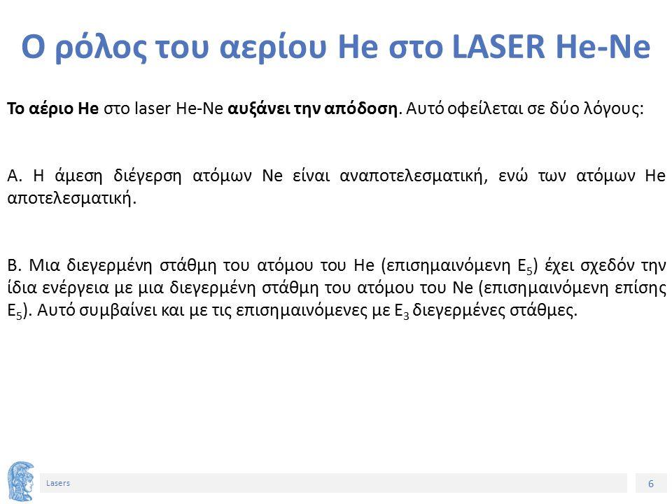 6 Lasers Ο ρόλος του αερίου He στο LASER He-Ne Το αέριο He στο laser He-Ne αυξάνει την απόδοση.