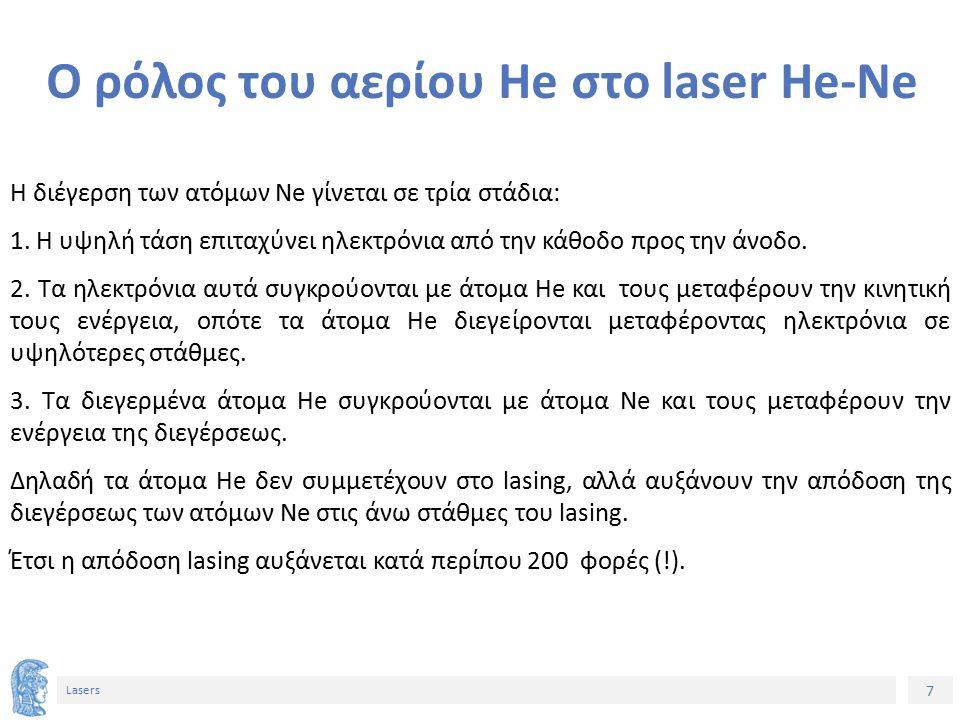 7 Lasers Ο ρόλος του αερίου He στο laser He-Ne Η διέγερση των ατόμων Ne γίνεται σε τρία στάδια: 1.