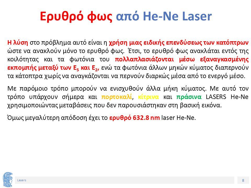 8 Lasers Ερυθρό φως από He-Ne Laser Η λύση στο πρόβλημα αυτό είναι η χρήση μιας ειδικής επενδύσεως των κατόπτρων ώστε να ανακλούν μόνο το ερυθρό φως.