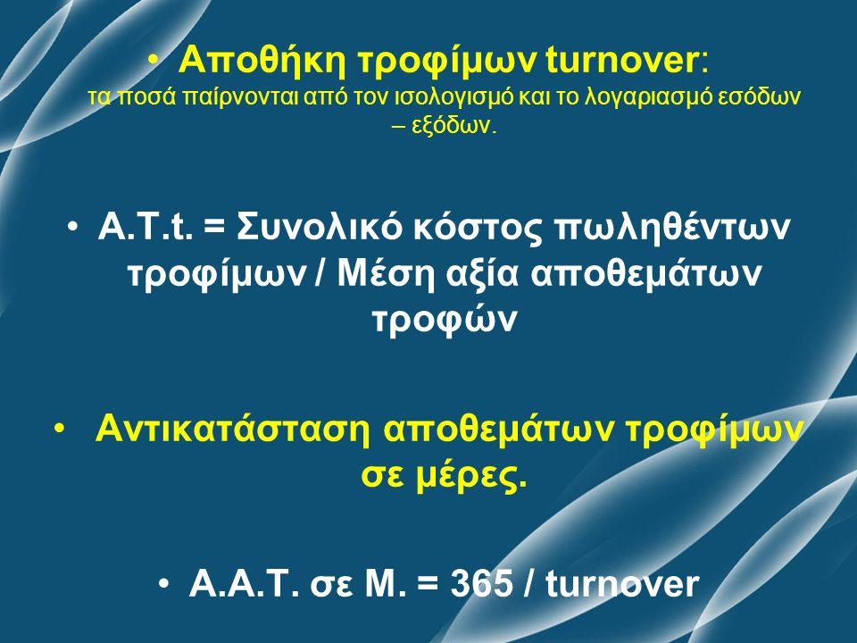 Αποθήκη τροφίμων turnover: τα ποσά παίρνονται από τον ισολογισμό και το λογαριασμό εσόδων – εξόδων. Α.Τ.t. = Συνολικό κόστος πωληθέντων τροφίμων / Μέσ