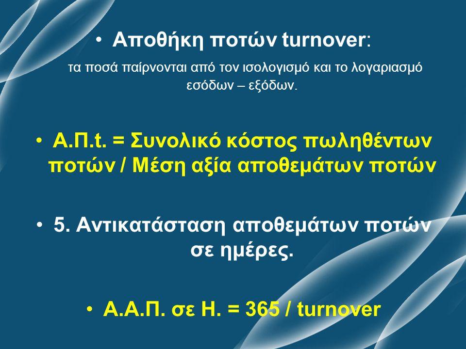 Αποθήκη ποτών turnover: τα ποσά παίρνονται από τον ισολογισμό και το λογαριασμό εσόδων – εξόδων. Α.Π.t. = Συνολικό κόστος πωληθέντων ποτών / Μέση αξία