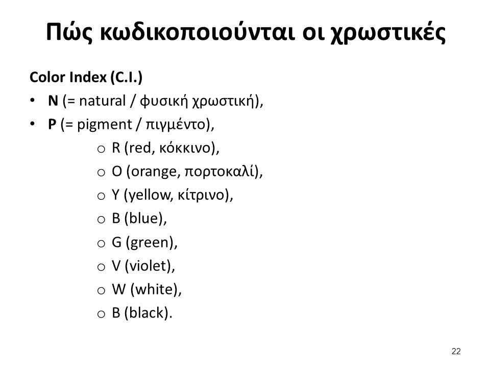 Πώς κωδικοποιούνται οι χρωστικές Color Index (C.I.) Ν (= natural / φυσική χρωστική), P (= pigment / πιγμέντο), o R (red, κόκκινο), o O (orange, πορτοκαλί), o Y (yellow, κίτρινο), o B (blue), o G (green), o V (violet), o W (white), o B (black).
