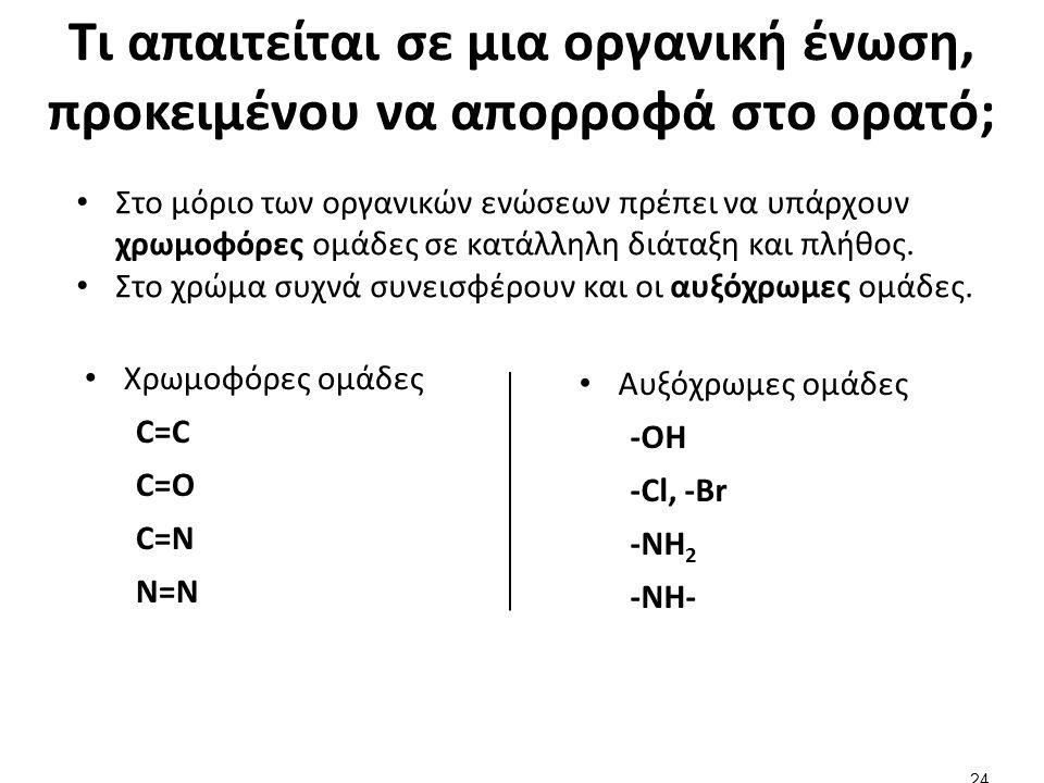 Τι απαιτείται σε μια οργανική ένωση, προκειμένου να απορροφά στο ορατό; Χρωμοφόρες ομάδες C=C C=O C=N N=N Αυξόχρωμες ομάδες -OH -Cl, -Br -NH 2 -NH- 24 Στο μόριο των οργανικών ενώσεων πρέπει να υπάρχουν χρωμοφόρες ομάδες σε κατάλληλη διάταξη και πλήθος.