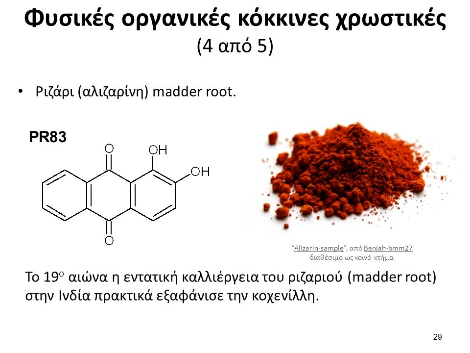 Φυσικές οργανικές κόκκινες χρωστικές (4 από 5) Ριζάρι (αλιζαρίνη) madder root.
