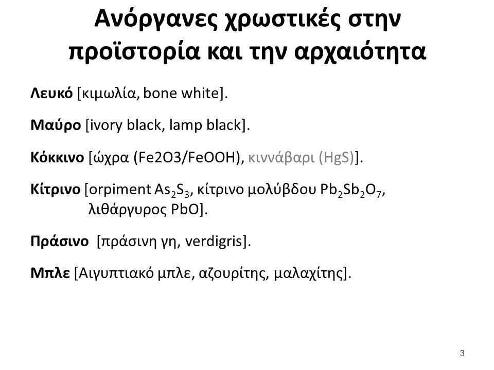 Ανόργανες χρωστικές στην προϊστορία και την αρχαιότητα Λευκό [κιμωλία, bone white].