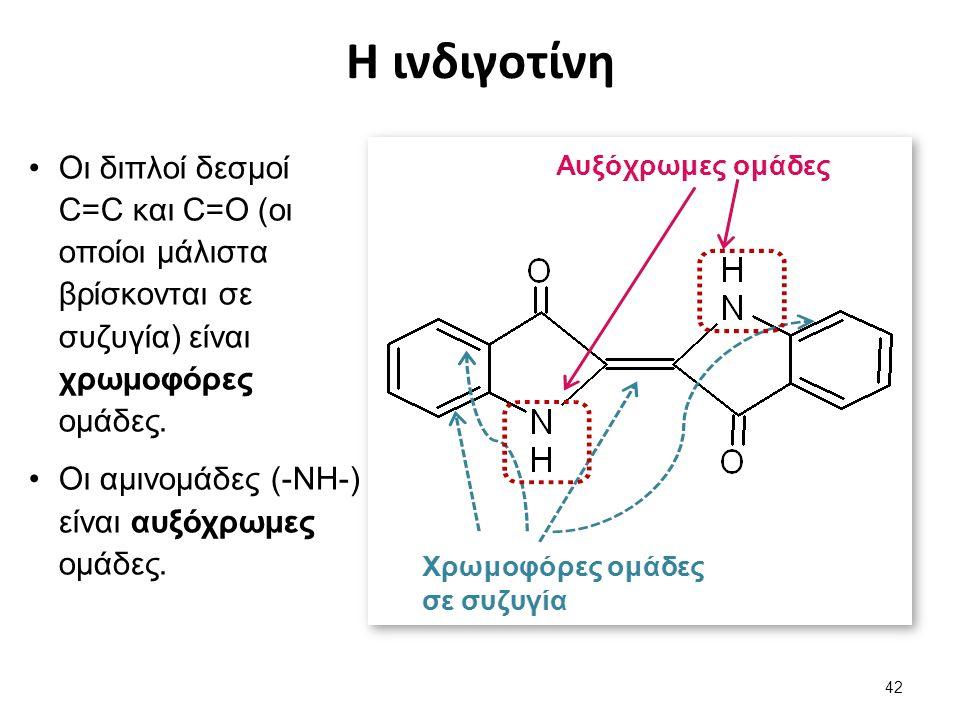 Η ινδιγοτίνη 42 Οι διπλοί δεσμοί C=C και C=O (οι οποίοι μάλιστα βρίσκονται σε συζυγία) είναι χρωμοφόρες ομάδες.