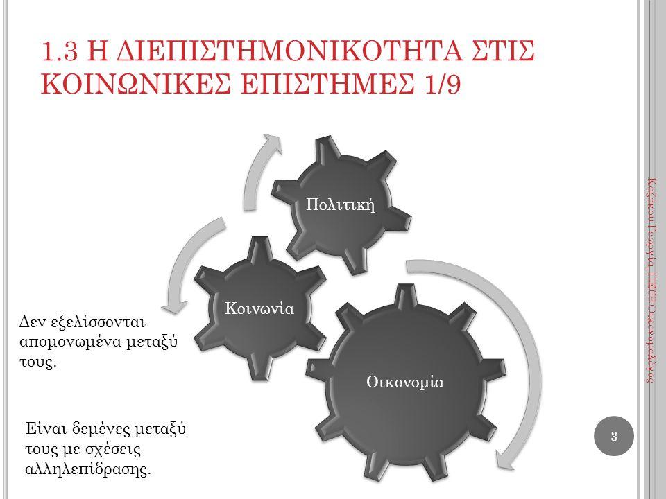 1.3 Η ΔΙΕΠΙΣΤΗΜΟΝΙΚΟΤΗΤΑ ΣΤΙΣ ΚΟΙΝΩΝΙΚΕΣ ΕΠΙΣΤΗΜΕΣ 1/9 Οικονομία Κοινωνία Πολιτική Δεν εξελίσσονται απομονωμένα μεταξύ τους. Είναι δεμένες μεταξύ τους