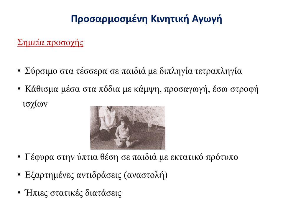 Σημεία προσοχής Σύρσιμο στα τέσσερα σε παιδιά με διπληγία τετραπληγία Κάθισμα μέσα στα πόδια με κάμψη, προσαγωγή, έσω στροφή ισχίων Γέφυρα στην ύπτια θέση σε παιδιά με εκτατικό πρότυπο Εξαρτημένες αντιδράσεις (αναστολή) Ήπιες στατικές διατάσεις Προσαρμοσμένη Κινητική Αγωγή