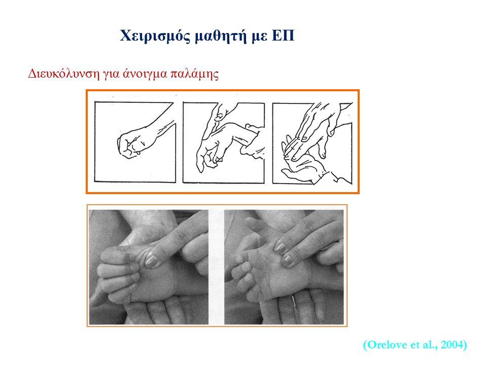 Διευκόλυνση για άνοιγμα παλάμης (Orelove et al., 2004) Χειρισμός μαθητή με ΕΠ
