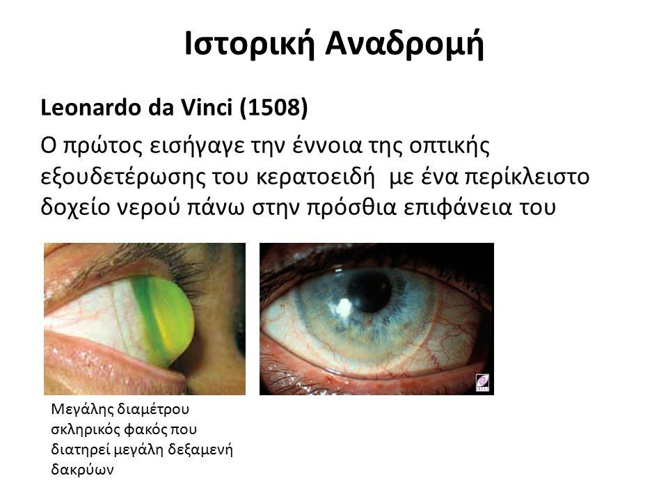 Ιστορική Αναδρομή Leonardo da Vinci (1508) Ο πρώτος εισήγαγε την έννοια της οπτικής εξουδετέρωσης του κερατοειδή με ένα περίκλειστο δοχείο νερού πάνω
