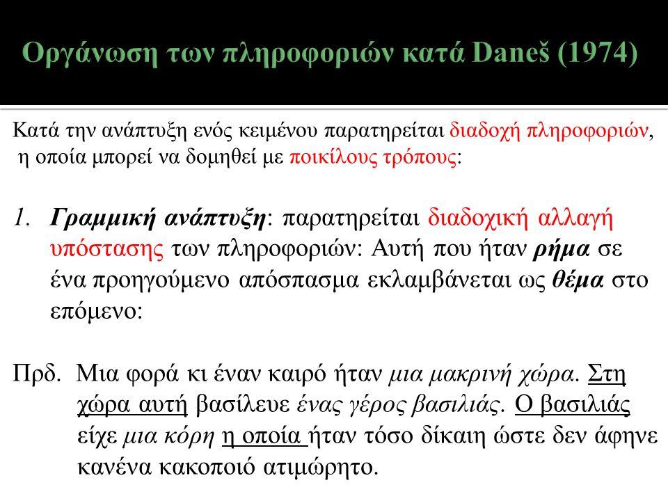 Κατά την ανάπτυξη ενός κειμένου παρατηρείται διαδοχή πληροφοριών, η οποία μπορεί να δομηθεί με ποικίλους τρόπους: 1.