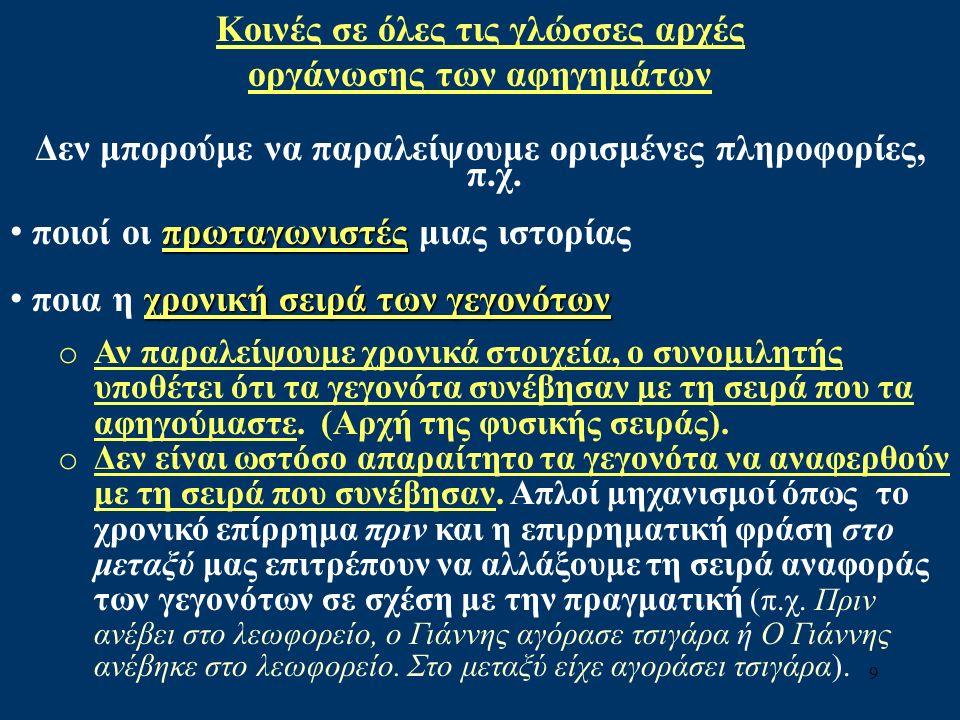 9 Κοινές σε όλες τις γλώσσες αρχές οργάνωσης των αφηγημάτων Δεν μπορούμε να παραλείψουμε ορισμένες πληροφορίες, π.χ.