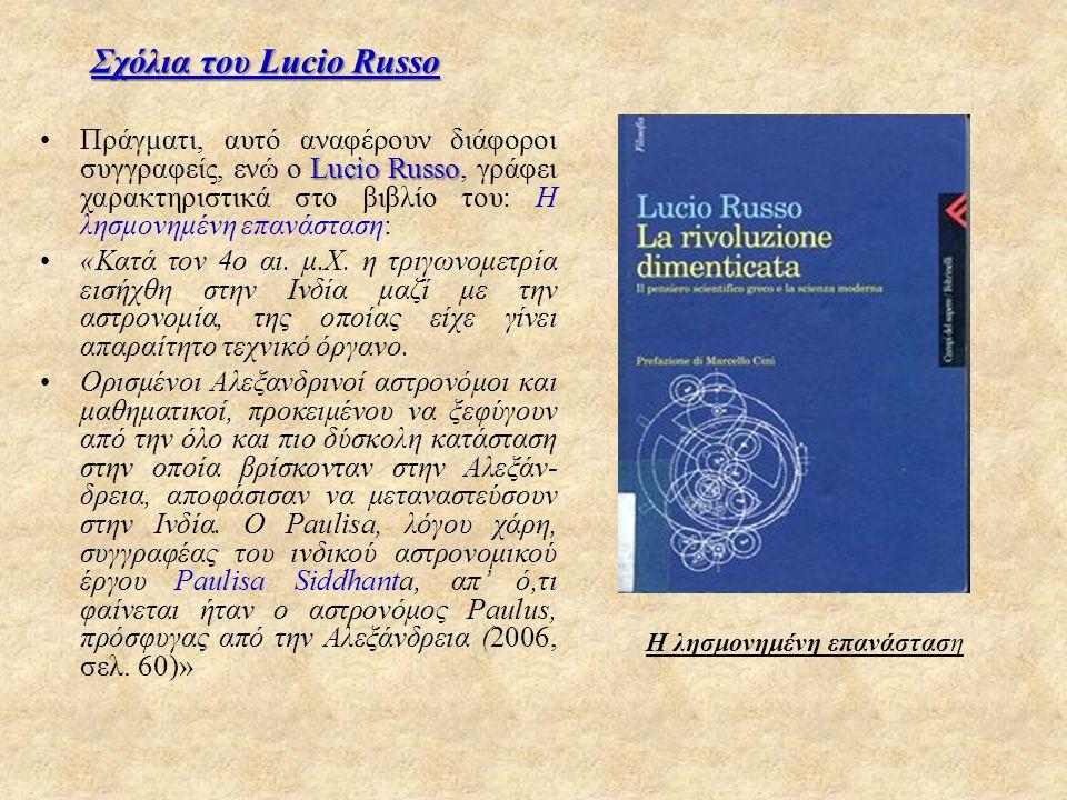 Σχόλια του Lucio Russo Lucio RussoΠράγματι, αυτό αναφέρουν διάφοροι συγγραφείς, ενώ ο Lucio Russo, γράφει χαρακτηριστικά στο βιβλίο του: Η λησμονημένη