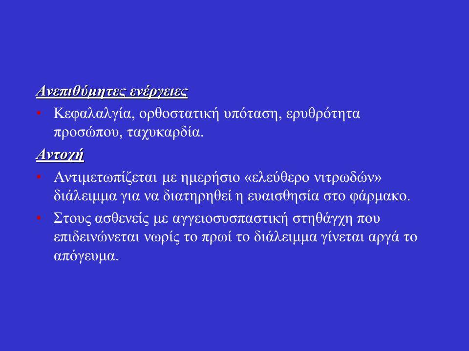 Β.Δινιτρικός ισοσορβίτης Μικρότερη ισχύ από νιτρογλυκερίνη.