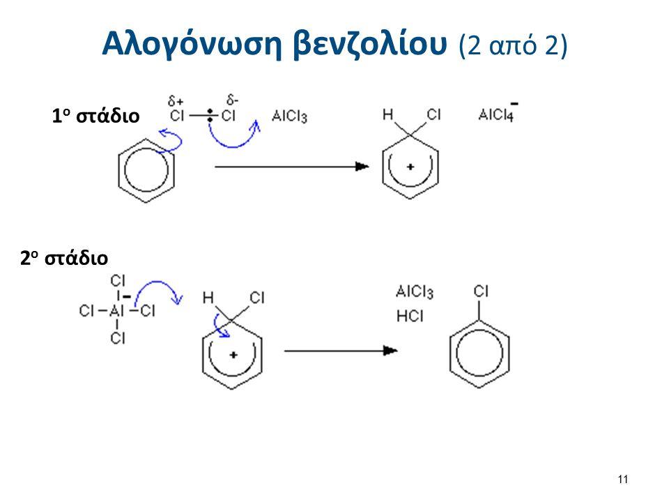 Αλογόνωση βενζολίου (2 από 2) 1 ο στάδιο 2 ο στάδιο 11