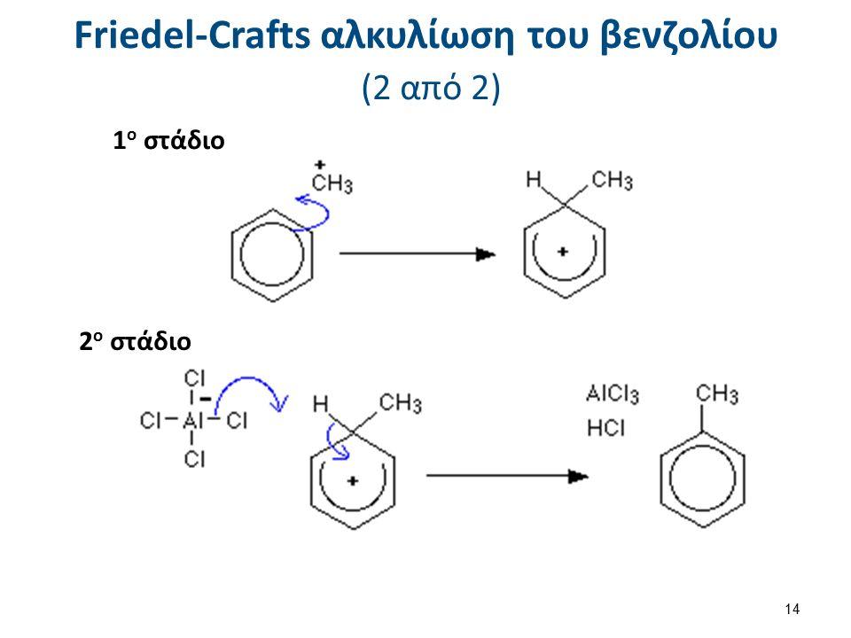 Friedel-Crafts αλκυλίωση του βενζολίου (2 από 2) 1 ο στάδιο 2 ο στάδιο 14