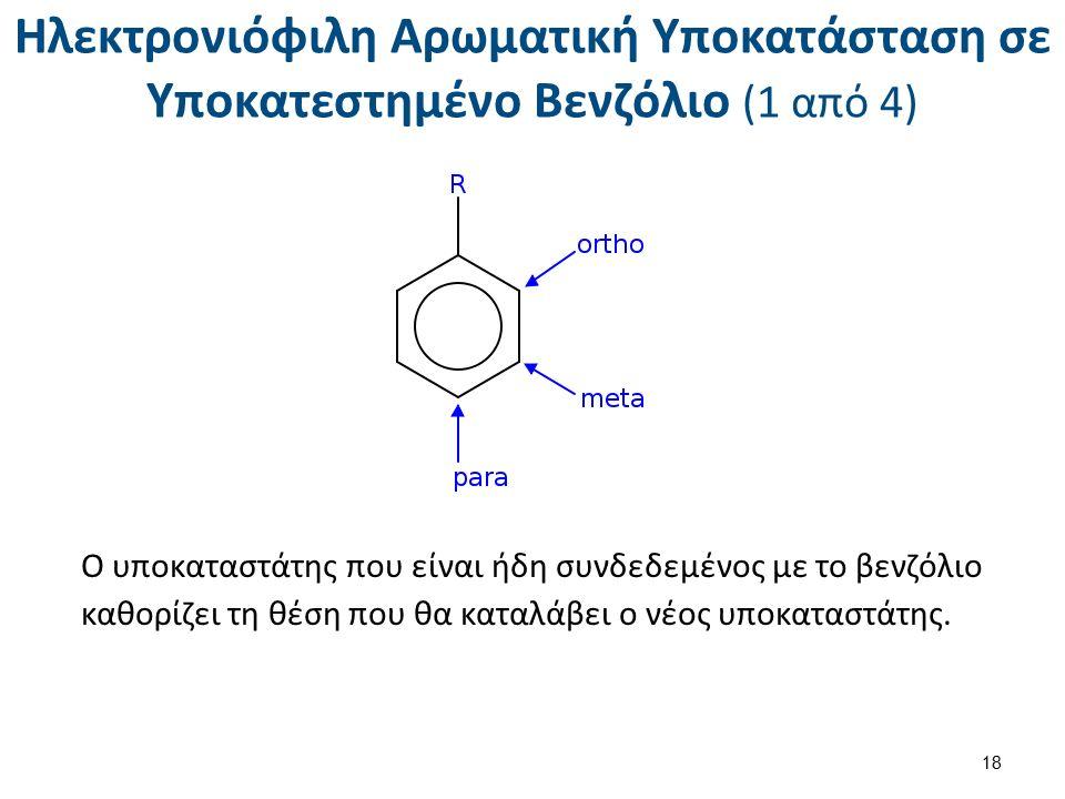 Ηλεκτρονιόφιλη Αρωματική Υποκατάσταση σε Υποκατεστημένο Βενζόλιο (1 από 4) Ο υποκαταστάτης που είναι ήδη συνδεδεμένος με το βενζόλιο καθορίζει τη θέση