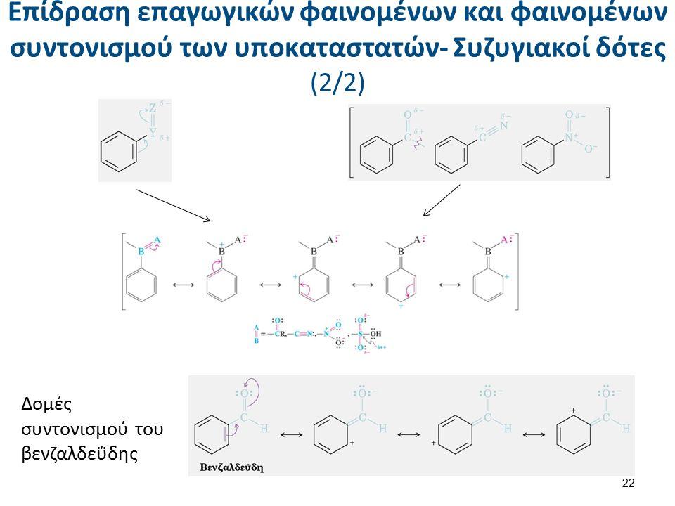 Επίδραση επαγωγικών φαινομένων και φαινομένων συντονισμού των υποκαταστατών- Συζυγιακοί δότες (2/2) Δομές συντονισμού του βενζαλδεΰδης 22