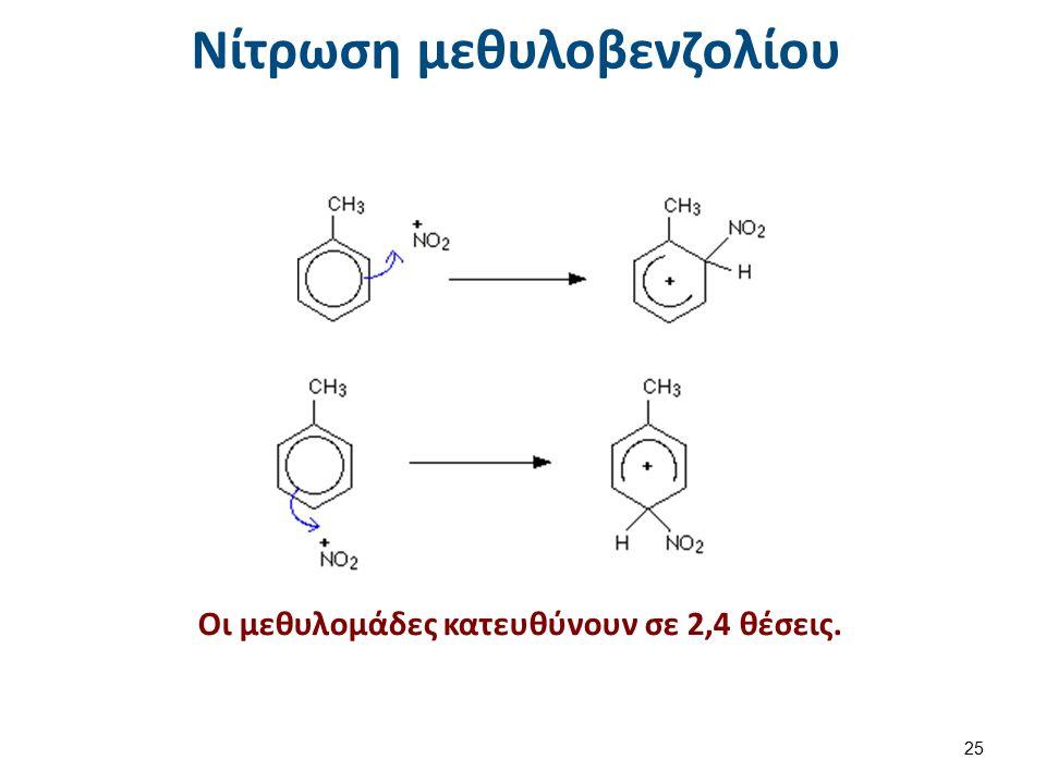 Νίτρωση μεθυλοβενζολίου Οι μεθυλομάδες κατευθύνουν σε 2,4 θέσεις. 25