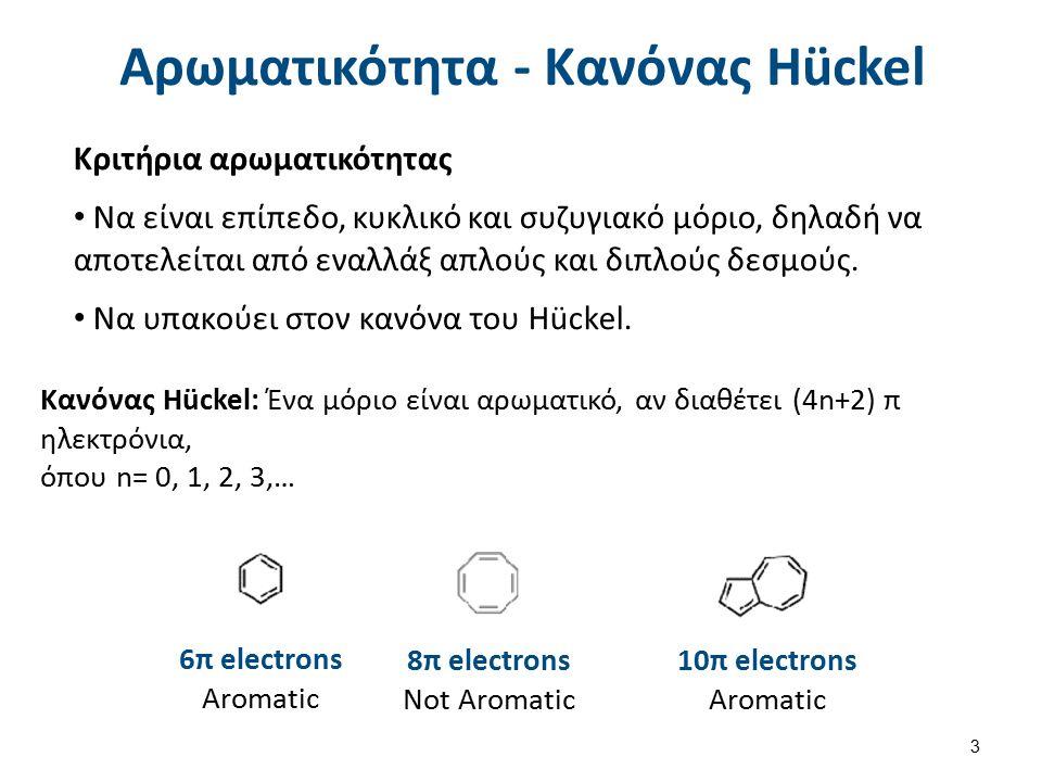 Αρωματικότητα - Κανόνας Hückel Κριτήρια αρωματικότητας Να είναι επίπεδο, κυκλικό και συζυγιακό μόριο, δηλαδή να αποτελείται από εναλλάξ απλούς και διπλούς δεσμούς.