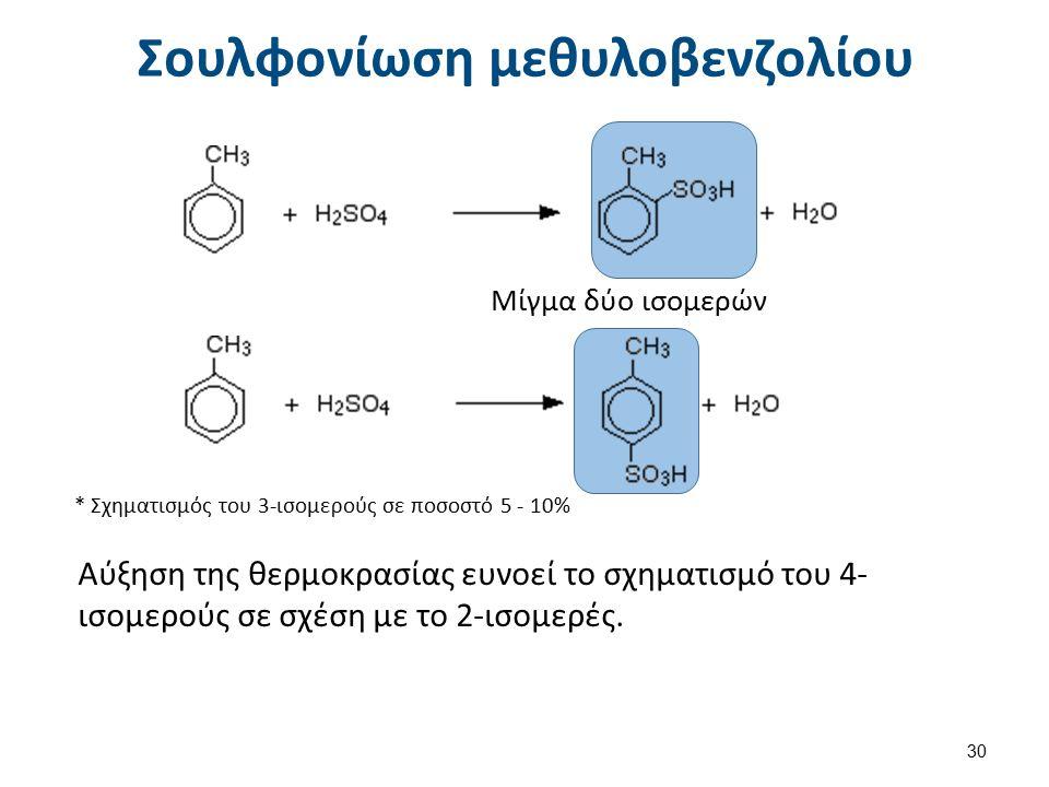 Σουλφονίωση μεθυλοβενζολίου Μίγμα δύο ισομερών * Σχηματισμός του 3-ισομερούς σε ποσοστό 5 - 10% Αύξηση της θερμοκρασίας ευνοεί το σχηματισμό του 4- ισομερούς σε σχέση με το 2-ισομερές.