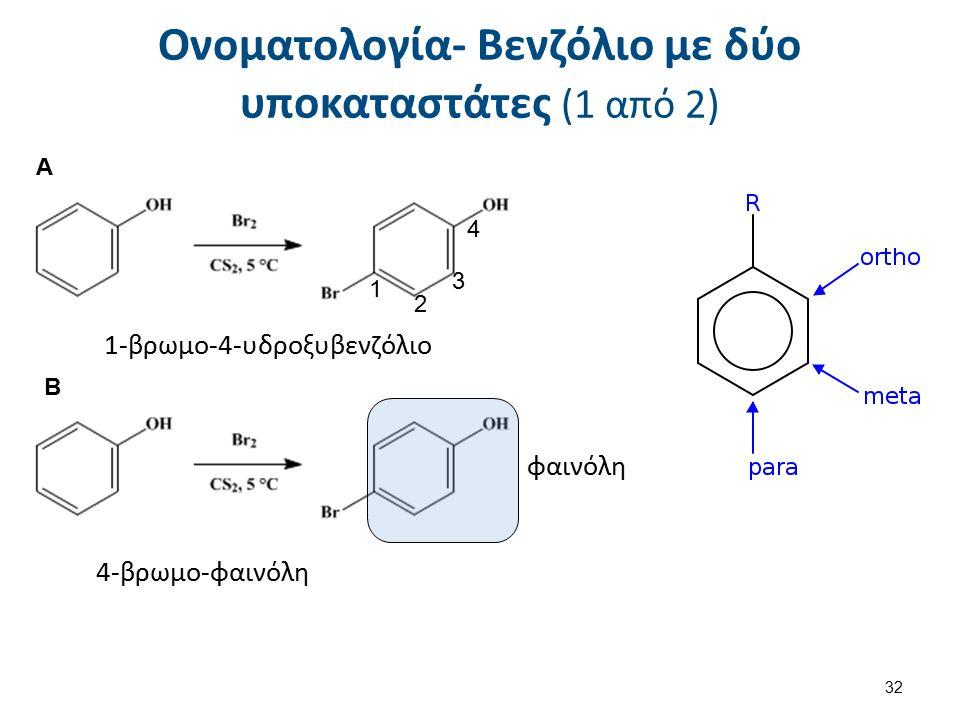 Ονοματολογία- Βενζόλιο με δύο υποκαταστάτες (1 από 2) 4 3 2 1 1-βρωμο-4-υδροξυβενζόλιο φαινόλη 4-βρωμο-φαινόλη Α Β 32