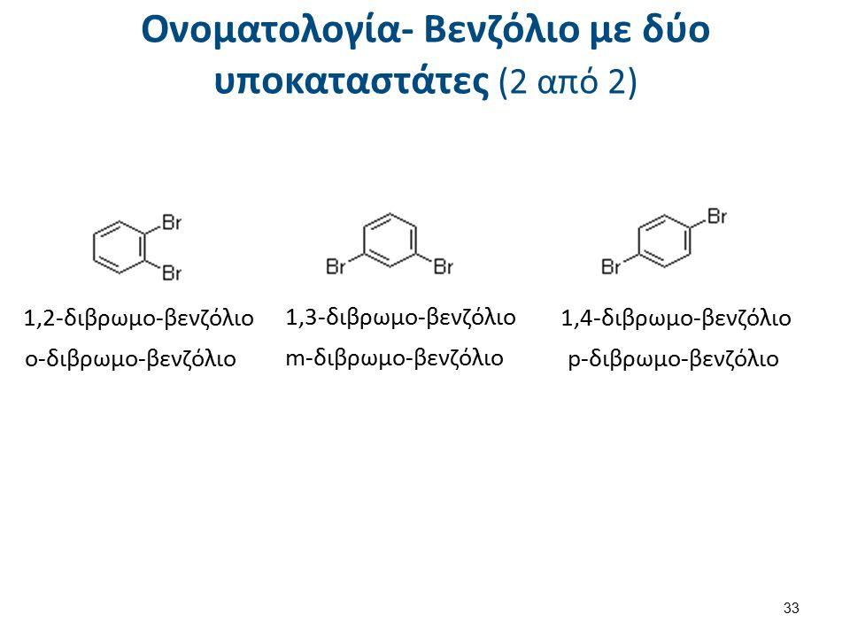 1,2-διβρωμο-βενζόλιο ο-διβρωμο-βενζόλιο 1,3-διβρωμο-βενζόλιο 1,4-διβρωμο-βενζόλιο p-διβρωμο-βενζόλιο m-διβρωμο-βενζόλιο Ονοματολογία- Βενζόλιο με δύο υποκαταστάτες (2 από 2) 33