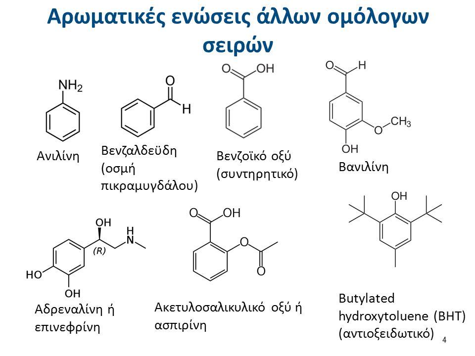 Αρωματικές ενώσεις άλλων ομόλογων σειρών Ανιλίνη Βενζαλδεϋδη (οσμή πικραμυγδάλου) Βενζοϊκό οξύ (συντηρητικό) Βανιλίνη Αδρεναλίνη ή επινεφρίνη Ακετυλοσαλικυλικό οξύ ή ασπιρίνη Butylated hydroxytoluene (ΒΗΤ) (αντιοξειδωτικό) 4