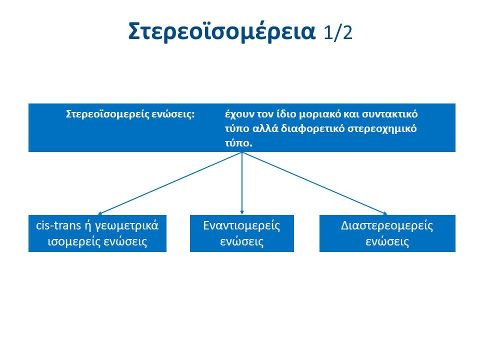 Στερεοϊσομέρεια 1/2 Στερεοϊσομερείς ενώσεις:έχουν τον ίδιο μοριακό και συντακτικό τύπο αλλά διαφορετικό στερεοχημικό τύπο. cis-trans ή γεωμετρικά ισομ