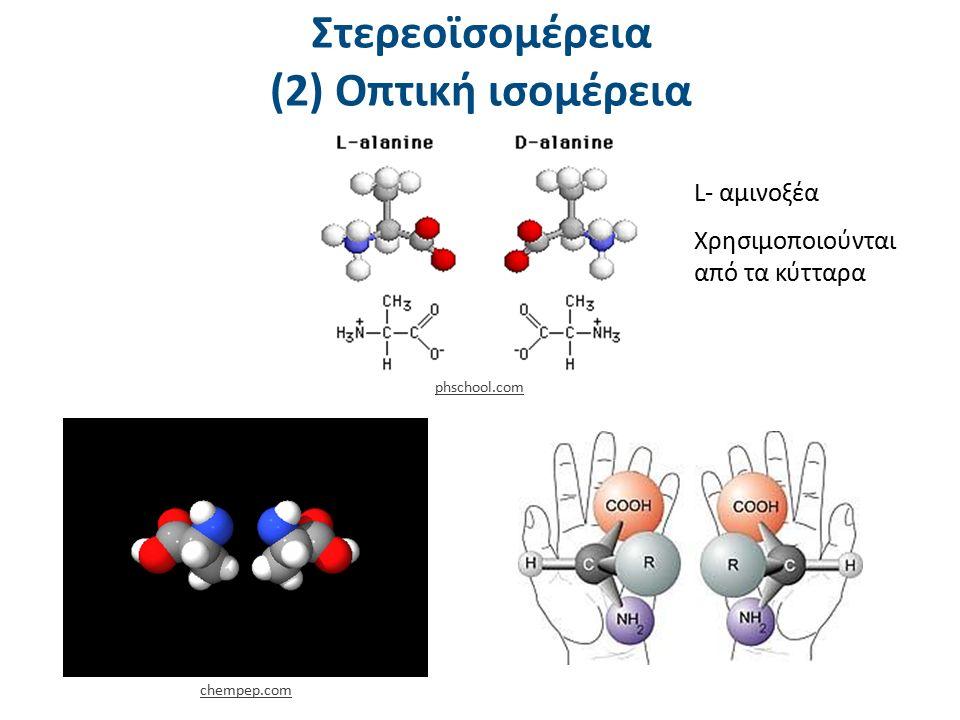Στερεοϊσομέρεια (2) Οπτική ισομέρεια L- αμινοξέα Χρησιμοποιούνται από τα κύτταρα chempep.com phschool.com