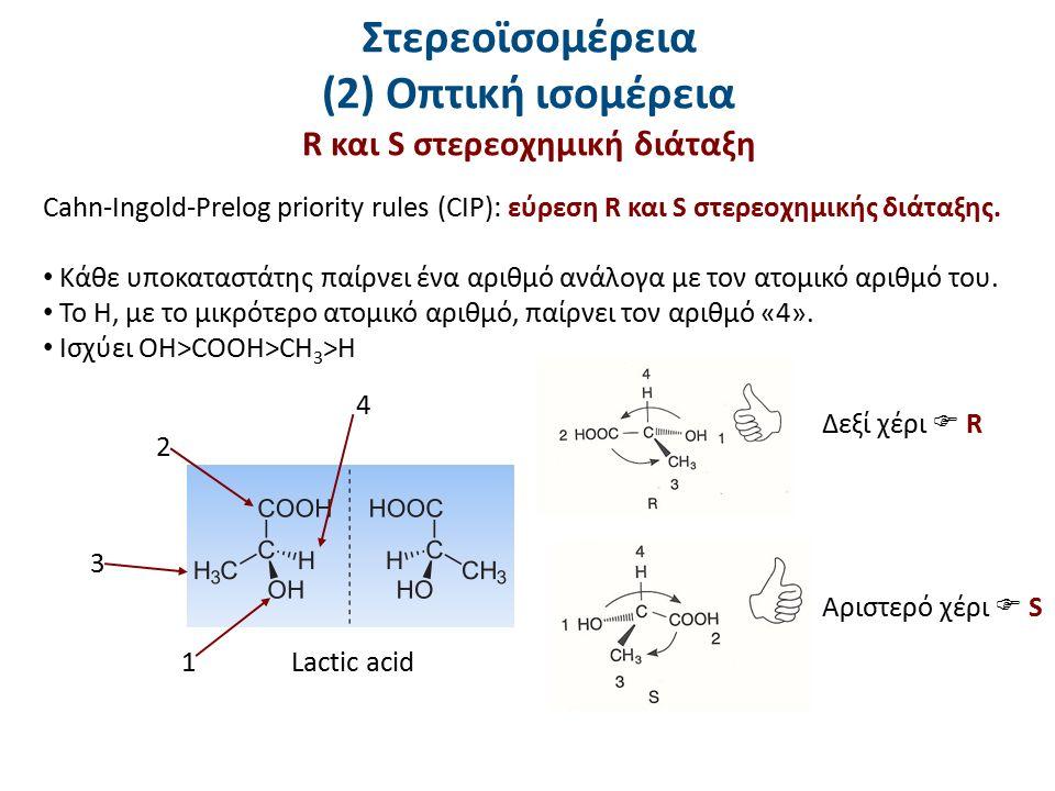 Στερεοϊσομέρεια (2) Οπτική ισομέρεια R και S στερεοχημική διάταξη Cahn-Ingold-Prelog priority rules (CIP): εύρεση R και S στερεοχημικής διάταξης. Κάθε
