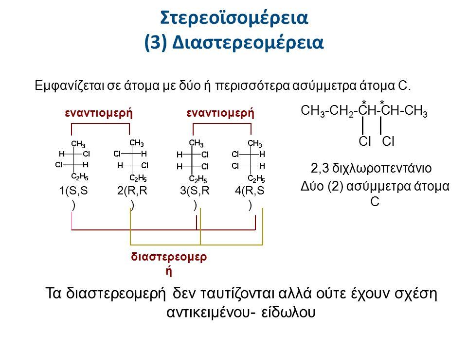 Στερεοϊσομέρεια (3) Διαστερεομέρεια Εμφανίζεται σε άτομα με δύο ή περισσότερα ασύμμετρα άτομα C. CH 3 -CH 2 -CH-CH-CH 3 Cl Cl 2,3 διχλωροπεντάνιο ** Δ