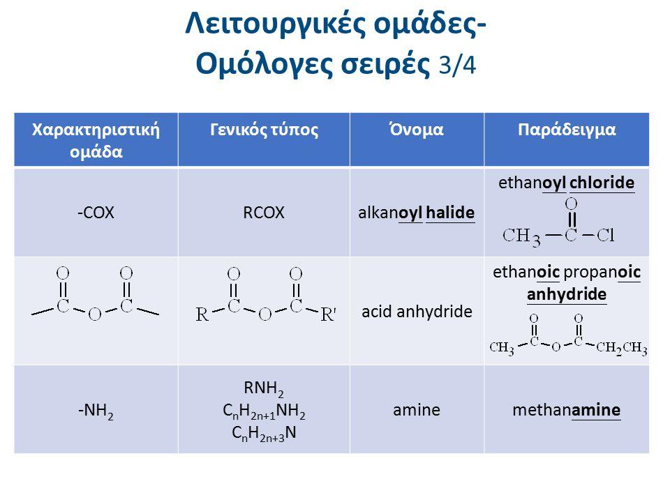 Λειτουργικές ομάδες- Ομόλογες σειρές 3/4 Χαρακτηριστική ομάδα Γενικός τύποςΌνομαΠαράδειγμα -COXRCOXalkanoyl halide ethanoyl chloride acid anhydride et
