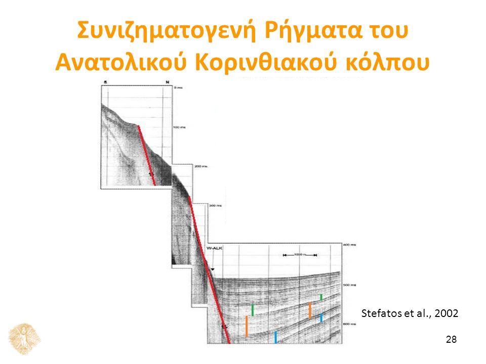 28 Συνιζηματογενή Ρήγματα του Ανατολικού Κορινθιακού κόλπου Stefatos et al., 2002