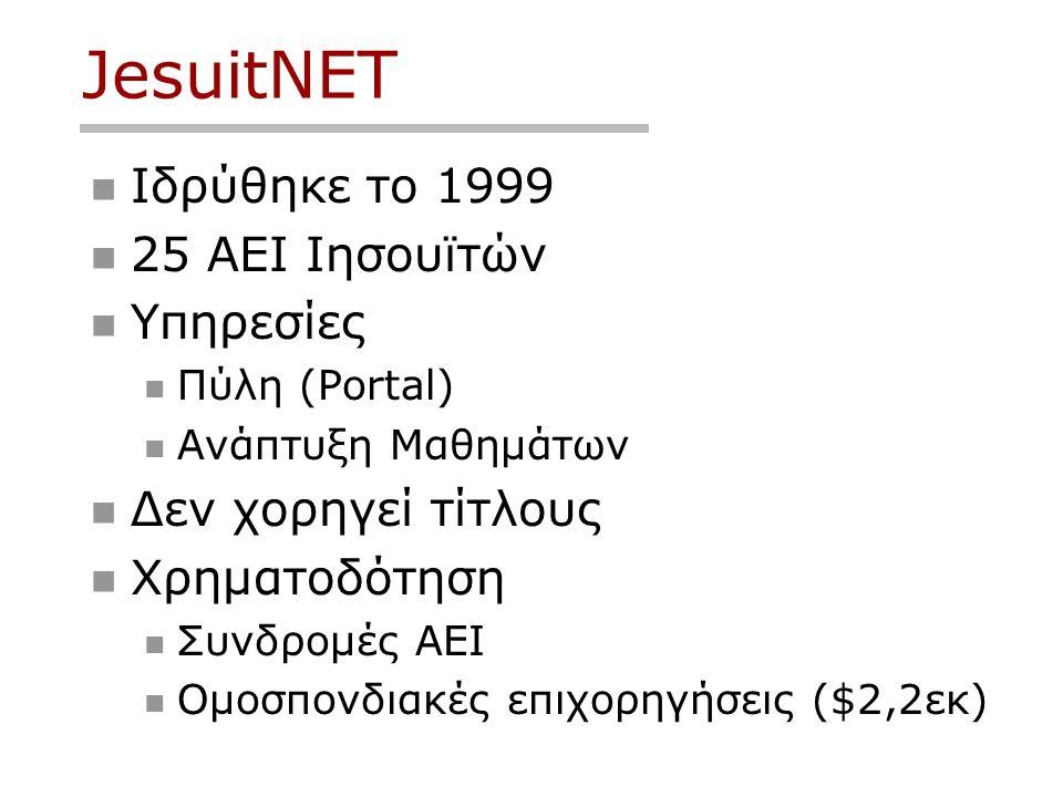 JesuitNET Ιδρύθηκε το 1999 25 ΑΕΙ Ιησουϊτών Υπηρεσίες Πύλη (Portal) Ανάπτυξη Μαθημάτων Δεν χορηγεί τίτλους Χρηματοδότηση Συνδρομές ΑΕΙ Ομοσπονδιακές επιχορηγήσεις ($2,2εκ)