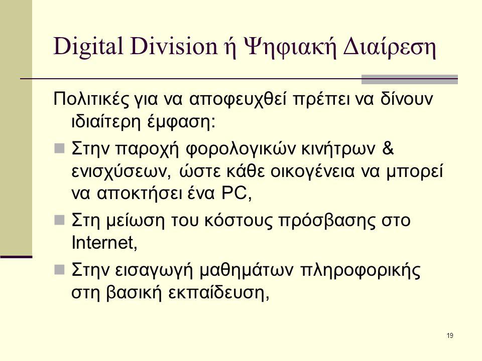 19 Digital Division ή Ψηφιακή Διαίρεση Πολιτικές για να αποφευχθεί πρέπει να δίνουν ιδιαίτερη έμφαση: Στην παροχή φορολογικών κινήτρων & ενισχύσεων, ώστε κάθε οικογένεια να μπορεί να αποκτήσει ένα PC, Στη μείωση του κόστους πρόσβασης στο Internet, Στην εισαγωγή μαθημάτων πληροφορικής στη βασική εκπαίδευση,
