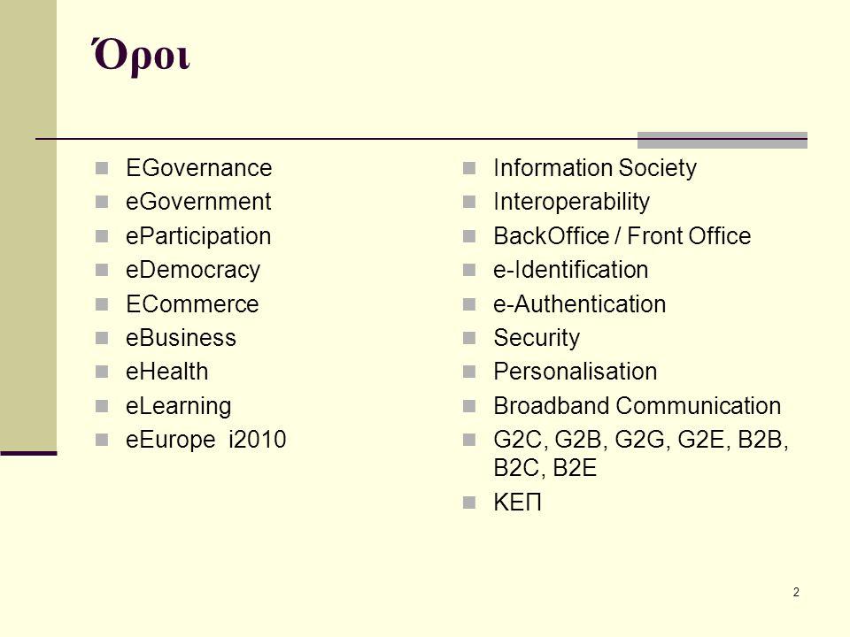 3 E-Government ή Ηλεκτρονική Δημόσια Διοίκηση Η χρησιμοποίηση Τεχνολογιών Πληροφορικής και Επικοινωνιών στη Δημόσια Διοίκηση και Τοπική Αυτοδιοίκηση με στόχο την ψηφιακή παροχή υπηρεσιών προς πολίτες και επιχειρήσεις.