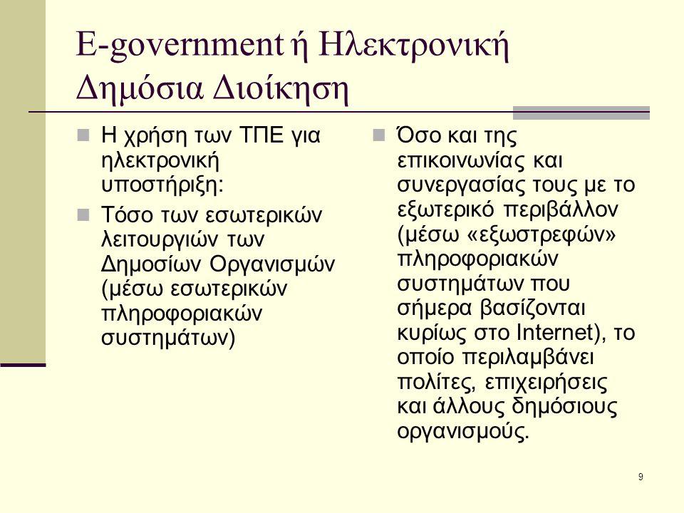 9 E-government ή Ηλεκτρονική Δημόσια Διοίκηση Η χρήση των ΤΠΕ για ηλεκτρονική υποστήριξη: Τόσο των εσωτερικών λειτουργιών των Δημοσίων Οργανισμών (μέσ