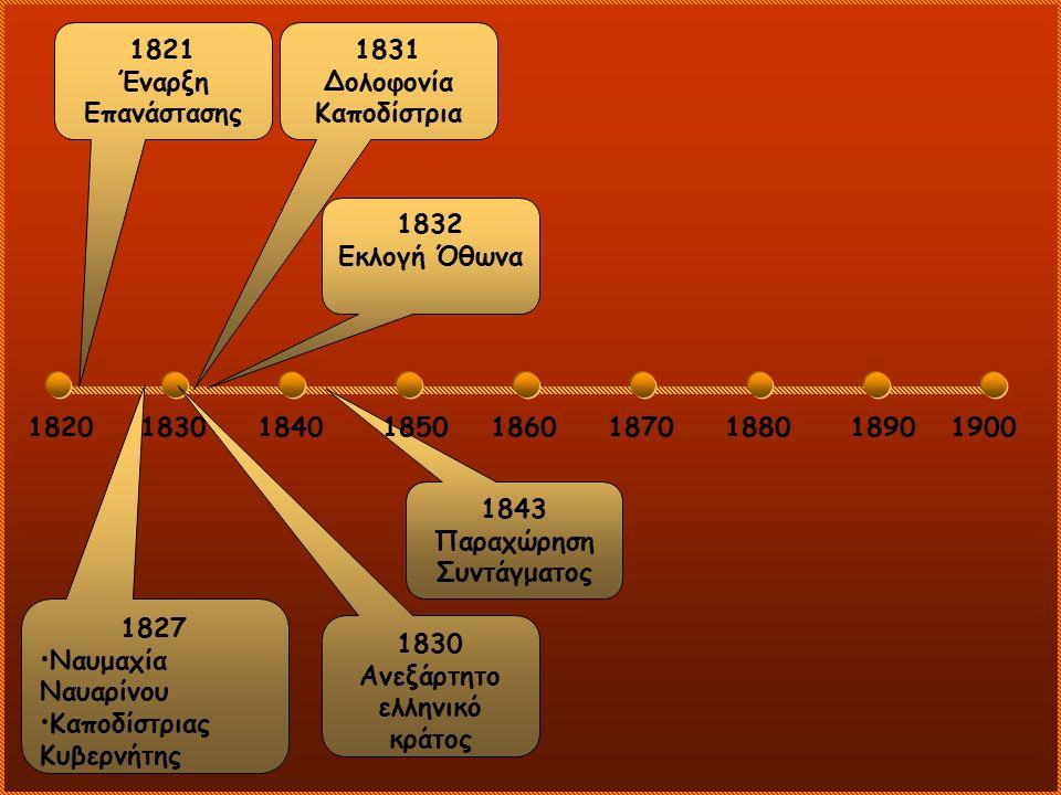 18201830184018601870188018901900 1821 Έναρξη Επανάστασης 1827 Ναυμαχία Ναυαρίνου Καποδίστριας Κυβερνήτης 1831 Δολοφονία Καποδίστρια 1830 Ανεξάρτητο ελ
