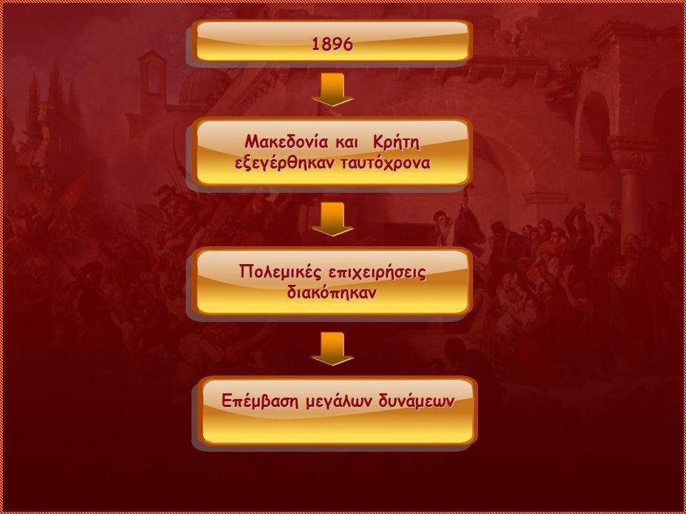 1896 Μακεδονία και Κρήτη εξεγέρθηκαν ταυτόχρονα Πολεμικές επιχειρήσεις διακόπηκαν Επέμβαση μεγάλων δυνάμεων