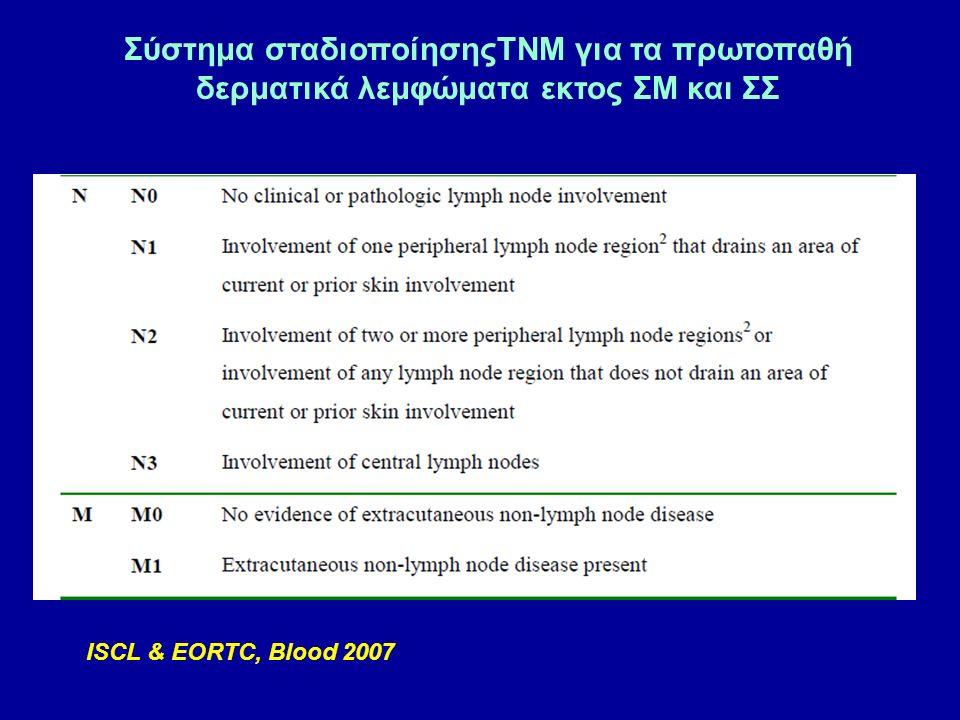 ISCL & EORTC, Blood 2007 Σύστημα σταδιοποίησηςTNM για τα πρωτοπαθή δερματικά λεμφώματα εκτος ΣΜ και ΣΣ