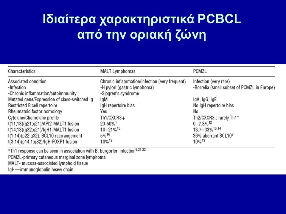 ΠΡΩΤΟΠΑΘΕΣ ΔΕΡΜΑΤΙΚΟ ΛΕΜΦΩΜΑ ΤΩΝ ΒΛΑΣΤΙΚΩΝ ΚΕΝΤΡΩΝ Ορισμός Δερματικό λέμφωμα αποτελούμενο από νεοπλασματικά κύτταρα προερχόμενα από τα βλαστικά κέντρα με μορφολογία κεντροκυττάρων και κεντροβλαστών, με οζώδες ή και διάχυτο πρότυπο ανάπτυξης.